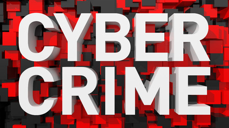 Extruded Cyber Crime text with blue abstract backround filled with cubes