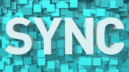 sync: Extruded SYNC text with blue abstract backround filled with cubes Stock Photo