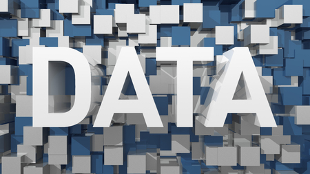 harddisc: Extruded Data text with blue abstract backround filled with cubes