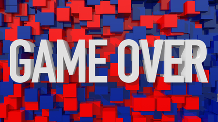 unsuccess: Extruded Game Over text with blue abstract backround filled with cubes Stock Photo
