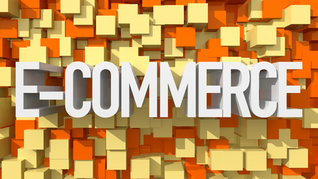 abstract backround: Extruded E-Commerce text with blue abstract backround filled with cubes Stock Photo