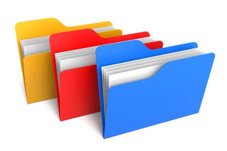 Drie kleur mappen en bestanden. 3D Rendering