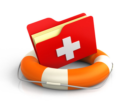 rescuing: Data folders in life buoy with first aid symbol. Rescuing your files concept Stock Photo
