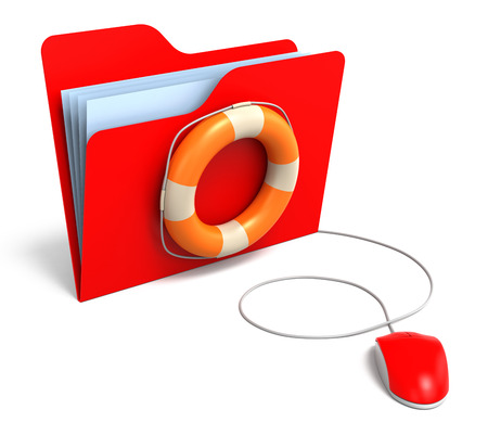rescuing: Data folders in life buoy. Rescuing your files concept