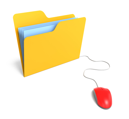 3d mouse: Yellow Folder connected to mouse. 3D Rendering