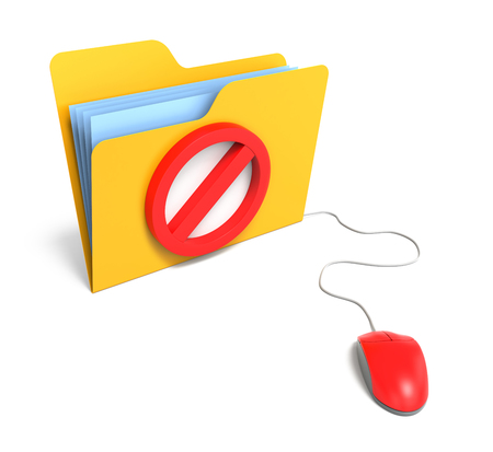 no image: Yellow Computer Folder with Stop Sign. 3D Rendering