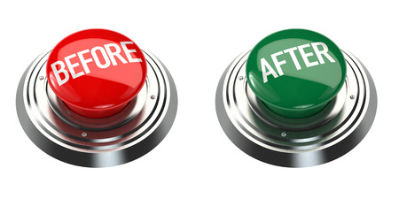 before: Before and After Buttons on white background. 3D rendering