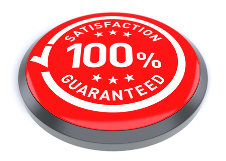 Red 100% Satisfaction guaranteed symbol. Digitally generated 3d image.