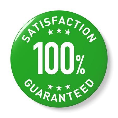 digitally generated image: Green 100% Satisfaction guaranteed symbol. Digitally generated 3d image.