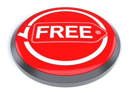 free button: Red Free Button, isolated on white background.