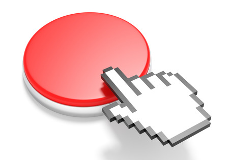 3d cursor: Red Button with Hand Cursor. 3D Rendering