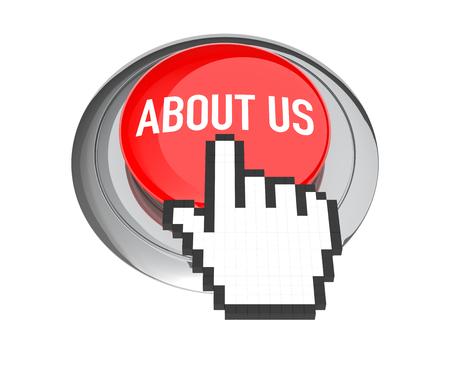 3d cursor: Mouse Hand Cursor on Red About Us Button. 3D Illustration.