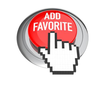 3d cursor: Mouse Hand Cursor on Red Add Favorite Button. 3D Illustration.