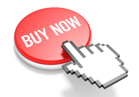 3d cursor: Mouse Hand Cursor on Red Buy Now Button. 3D Illustration. Stock Photo