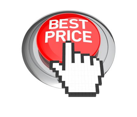 3d cursor: Mouse Hand Cursor on Best Price Button. 3D Illustration.
