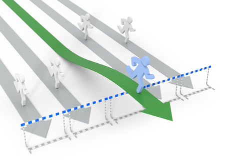 obstacle course: Success in business with legal movement - conceptual 3D image with arrow and obstacles