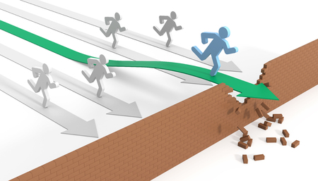 at first: Success in business with legal movement - conceptual 3D image with arrow and obstacles