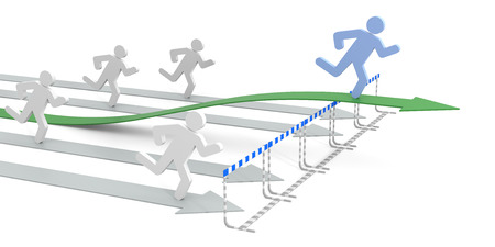 obstacles: Success in business with legal movement - conceptual 3D image with arrow and obstacles