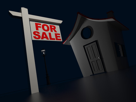 house for sale: House For Sale. Black Background. 3D Rendering