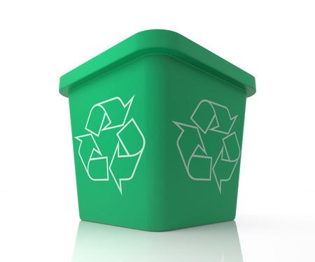papelera de reciclaje: La papelera de reciclaje con recicla la muestra. Ilustraci�n 3D Rendering aislado en blanco.