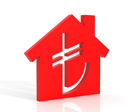tl: 3d illustration of house and turkish lira symbol over white background