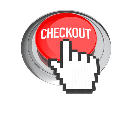 checkout button: Mouse Hand Cursor on Red Checkout Button. 3D Illustration. Stock Photo