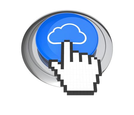 3d cursor: Mouse Hand Cursor on Blue Cloud Computing Button. 3D Illustration.
