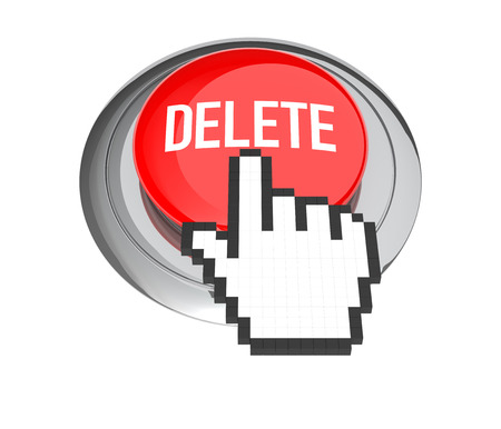 delete button: Mouse Hand Cursor on Red Delete Button. 3D Illustration.