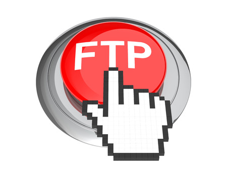 ftp: Mouse Hand Cursor on Red FTP Button. 3D Illustration.