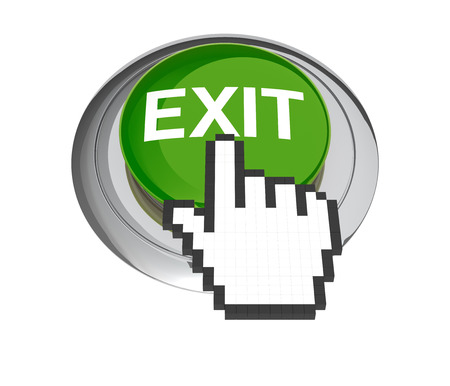 leaving: Mouse Hand Cursor on Green Exit Button. 3D Illustration.