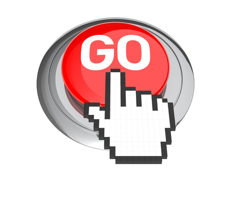go button: Mouse Hand Cursor on Red GO Button. 3D Illustration. Stock Photo
