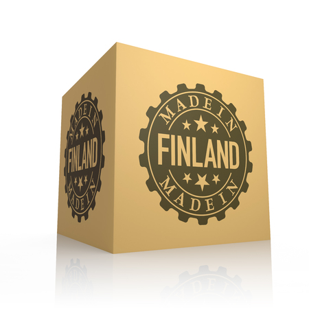 made in finland: 3D Render of Cardboard Box with Made in Finland Stock Photo