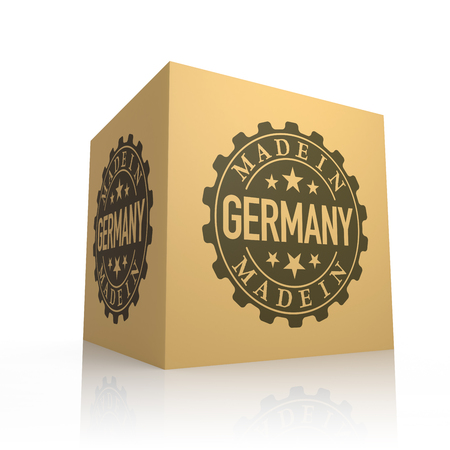 made in germany: 3D Render of Cardboard Box with Made in Germany Stock Photo
