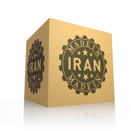 made manufacture manufactured: 3D Render of Cardboard Box with Made in Iran