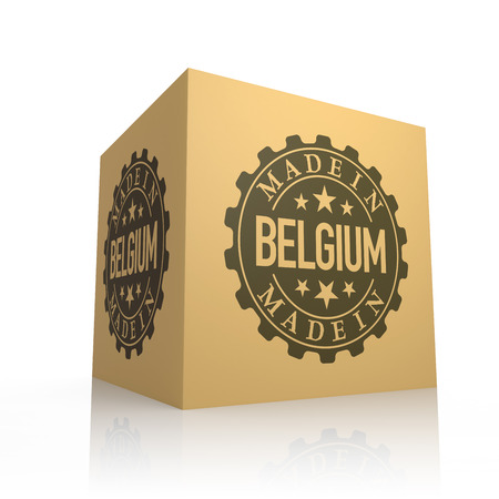 made manufacture manufactured: 3D Render of Cardboard Box with Made in Belgium