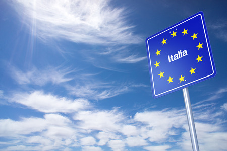 italy street: Italy Border Sign with clouds sky. 3D Rendering Stock Photo