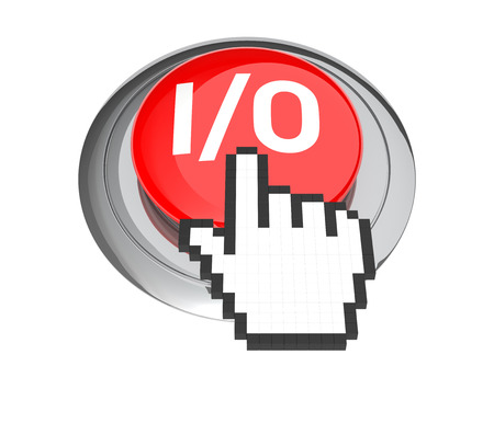 Mouse Hand Cursor on Red IO Button. 3D Illustration.