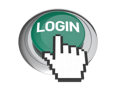 login button: Mouse Hand Cursor on Green Login Button. 3D Illustration. Stock Photo
