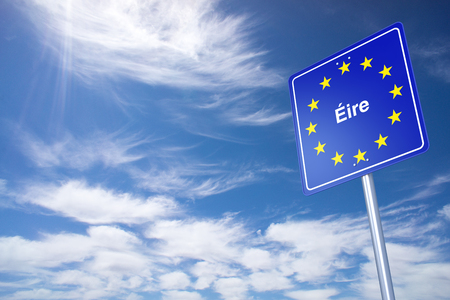 eire: Ireland Border Sign with clouds sky. 3D Rendering Stock Photo