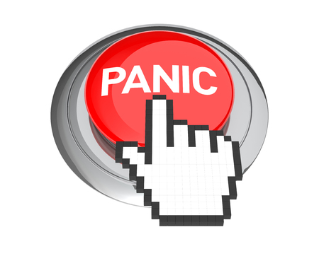 panic button: Mouse Hand Cursor on Red Panic Button. 3D Illustration.