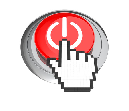 3d cursor: Mouse Hand Cursor on Red On on Off Button. 3D Illustration.