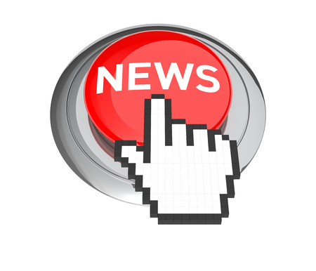 webcast: Mouse Hand Cursor on Red News Button. 3D Illustration.