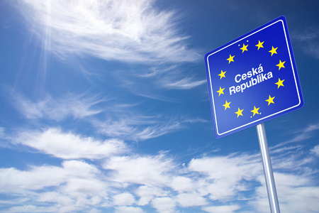 ceska: Czech Republic Border Sign with clouds sky. 3D Rendering