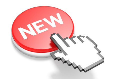 3d cursor: Mouse Hand Cursor on Red New Button. 3D Illustration.
