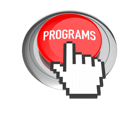 programs: Mouse Hand Cursor on Red Programs Button. 3D Illustration. Stock Photo