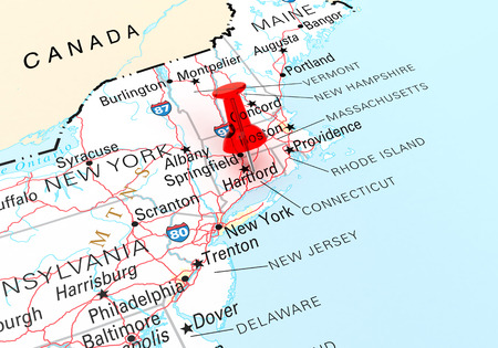 Rode Punaise Over Connecticut, Kaart is vrij van rechten uit een door de overheid Website - nationalatlas.gov