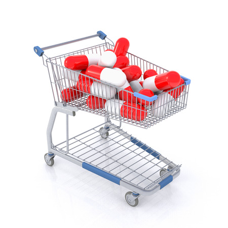 overdose: Isolated shopping cart full with red and white capsules Stock Photo