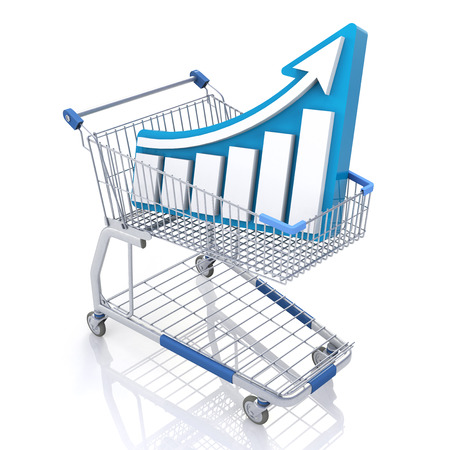 sales growth: Sales Growth Business Chart Shopping Cart Illustration