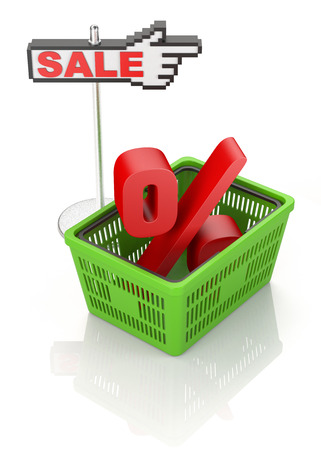 percentage sign: Shopping basket with percentage sign. Sale concept on white background
