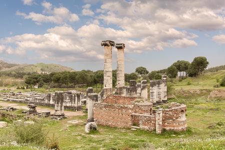 sard: The Temple of Artemis, Sardes Ancient City. Manisa - Turkey Stock Photo